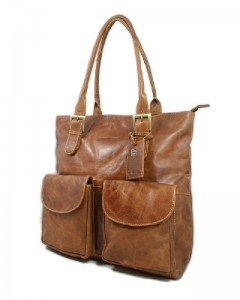 TOREBKA DAMSKA NA RAMIĘ SHOPPER BAG EXPEDITION SKÓRA GREENBURRY 551-24 COGNAC